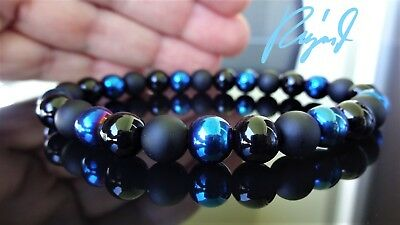 Blue Hematite W  Black Matte  Smooth Onyx Bead Bracelet Men  Stretch  8Mm   8