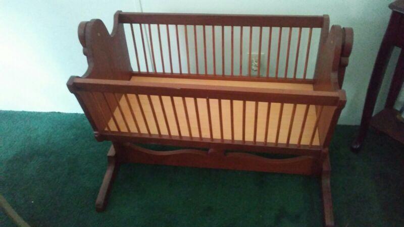 Nice Vintage Style Wooden Baby Rocking Crib