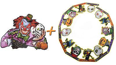Halloween Deco 2er Set (Paper Garland + Aufhängebild) Decoration Horror Clown