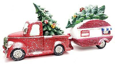 GERSON NOSTALGIC LIL' RED PICK-UP TRUCK W/ TRAILER LIGHTED CHRISTMAS TREES