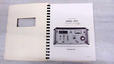 Wavetek 3007 Rf Signal Generator Original Printed Operating Service Manual