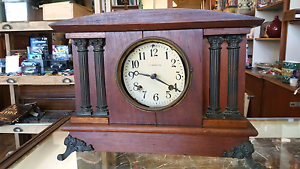 Antique mantel clock with damaged dial no Glass. New Haven USA South Melbourne Port Phillip Preview