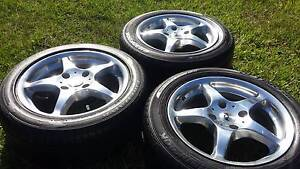 """16"""" ALLOY WHEELS AND TYRES 4X114.3 MM 205/55R16 RIMS TRAILER x3 Kallangur Pine Rivers Area Preview"""