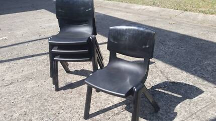 STRONG BLACK SEBEL PRESCHOOL CHAIR*PLASTIC MOULDED*STACKING*CHILD