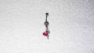 Pink Stone Crystal Heart Belly Button Navel Ring Body Jewelry Piercing 14g