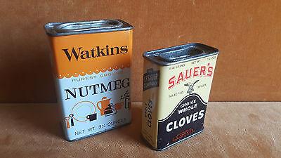 2 vintage spice tins full Sauer's whole cloves Watkis Nutmeg