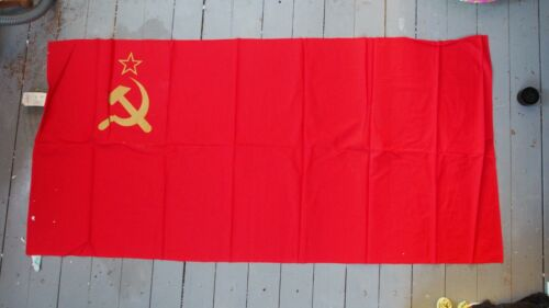 USSR Vintage Original Soviet Republic Flag Hammer & Sickle Medium Red Banner
