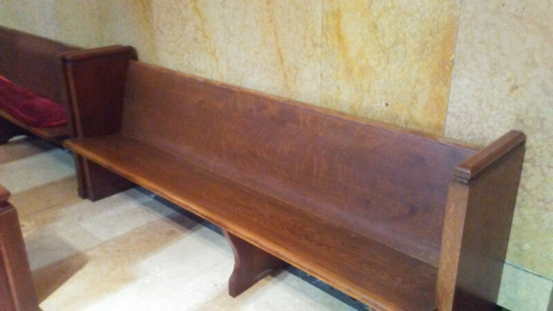ANTIQUE SOLID OAK CHURCH PEW 7
