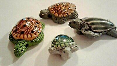 Peruvian Ceramic Brown Gray Sea Turtle Leatherback Focal Bead Single OR Lot of -