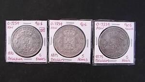 3 x Belgium 5 franc silver coins - 1870, 1873 & 1895 - high grade Baldivis Rockingham Area Preview