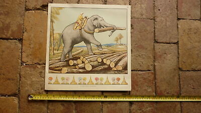ORIGINAL 1940s AUSTRALIAN CHILDRENS BEDROOM LARGE ARTWORK PRINT, USEFUL ELEPHANT, used for sale  Shipping to United States