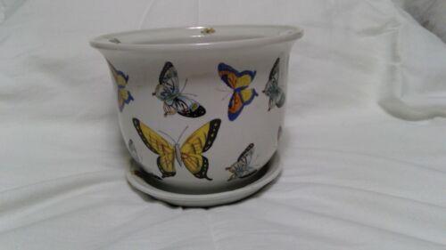 """Antique Porcelain Butterfly Asian Planter 7"""""""