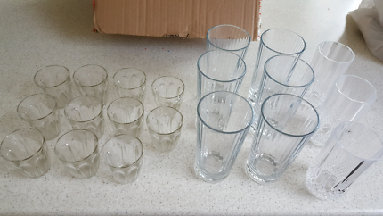 Assorted glass cups with fee Crystal ones too