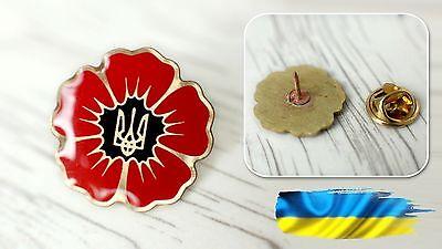 Ukrainian Lapel Pin Badge Red Poppy Tryzub Coat Of Arms Metal
