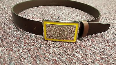 (Pittsburgh Steelers Brown Leather belt Chrome Engraved Buckle size 32 to 46 )