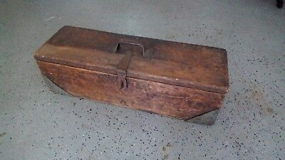 ANTIQUE VINTAGE OLD WOODEN TOOL BOX
