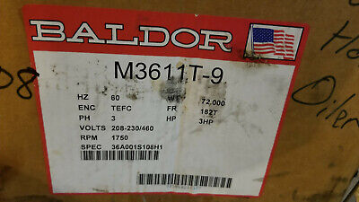 Baldor M3611t-9 36a001s108h1 3hp Electric Motor 230460v 3ph 1750rpm 182t Tefc