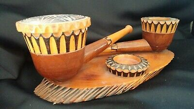 Vintage Hand Carved Wooden Pipe Smoking Ornament (L 12