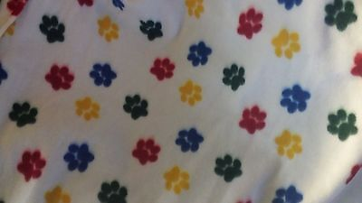 Dog Fleece Blanket Handcraft Personalized 45x60 in large NEW white w/paw print