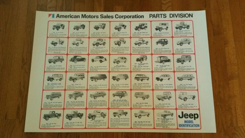 Vintage jeep dealer Poster Automobile Sign rare nos REPRINT cj cj5 cj7 cherokee