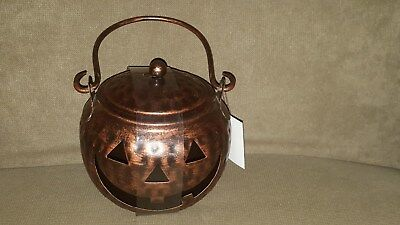 Small Jack O Lantern/Pumpkin w/ Lid Tin Metal Tealight Candle Holder ~ NEW!](Metal Halloween Pumpkin Lantern)