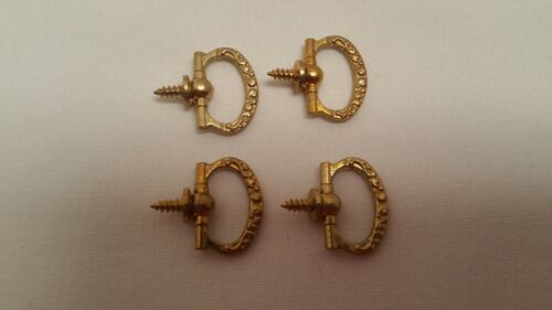Old small bureau loper handle screw in furniture pull Set of 4