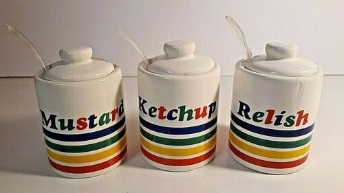Rainbow Ceramic Condiment Jar Set Picnic Caddy Mustard Ketchup Relish BBQ VTG