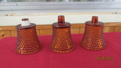 Lot of 3 Vintage Amber Hobnail Home Interior Votive Cups