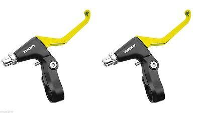 2x Manetas de Freno Aluminio Amarillo Amarilla V- Brake Bicicleta MTB BTT...
