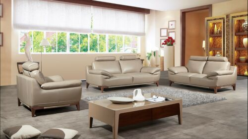 3 Pc Tan Top Grain / Split Full Leather Sofa Loveseat Chair Living Room Set