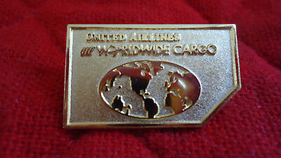 (EUC RARE United Airlines Vintage Worldwide Cargo ULD Lapel Pin with Tulip Logo)