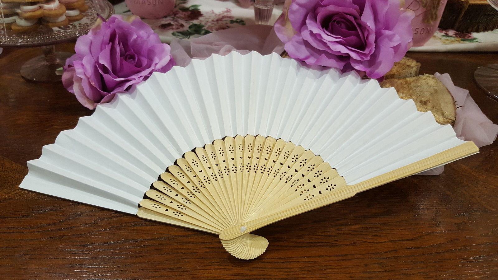 50 ventagli ventaglio legno bambù e carta bianchi matrimonio wedding sposa