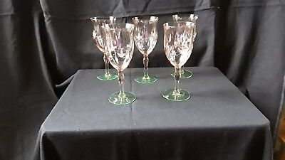 Vintage Etched Watermelon Water Wine Goblets Depression Glass  Set Of 5