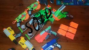 Nerf guns used