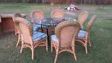 8 Piece Round Cane/Wicker/Glass Top Dining Suite Jimboomba Logan Area Preview