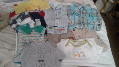 Boys 6-12M Summer Clothing Lot 11 Pcs Graphic Tops Shorts Gap Childs Place 3 NWT