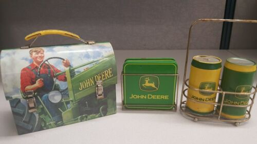 John Deere Lot Small Tin Lunch Box, Coasters, Salt and Pepper shakers