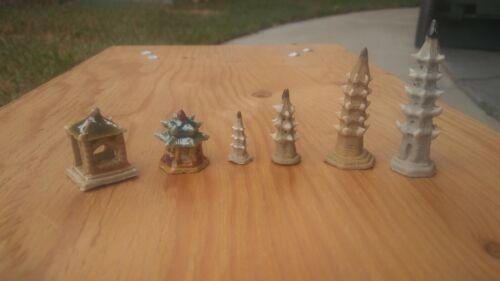 6 Pagodas, Mini mudman figurine, Mud men for bonsai