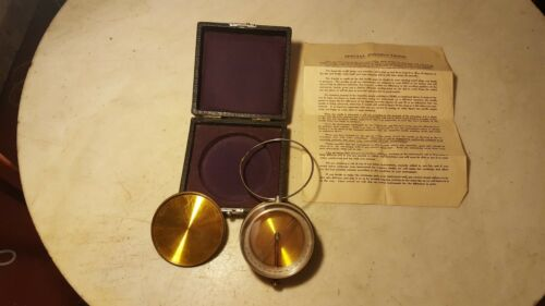 Large Hand Held Compass, Case, Original Instructions - Well Made And Unusual
