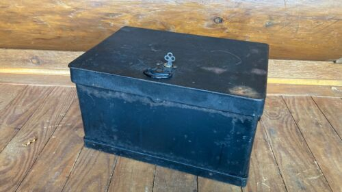 Antique Stagecoach Railroad Strong Box Chest w/ Eagle Lock Co. Lock / Key