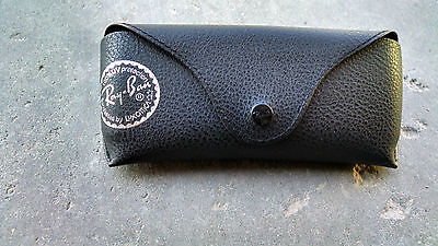 Ray Ban Black Leather Case for Aviator Sunglasses Snap Travel Carrying Brand (Rayban Aviator Case)