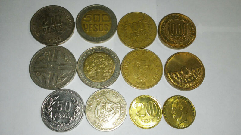 COLOMBIA, 6 PIECE COIN SET, 20 TO 1000 PESOS (1 BIMETAL)