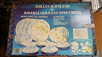 Johann Haviland Bavaria Germany Fine China Blue Garland 20 Piece Dish Set - NEW!
