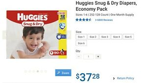 Huggies Snug and Dry Size 4 Diapers