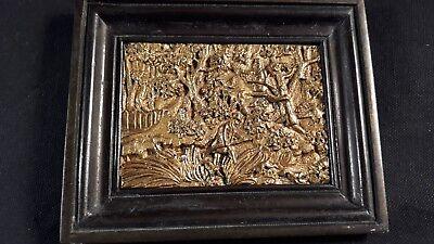 Antique Gold Gilt Bronze Hunt Scene Figural Relief Wall Plaque