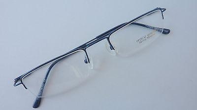 Herrenbrille Metall unten randlos rechteckig, pur, blau leicht mittelgroß Gr. M