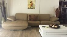 3 SEATER LEATHER LOUNGE WITH CHAISE & SWIVEL CHAIR + (WARRANTY) Copacabana Gosford Area Preview