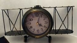 Airplane-Biplane Metal Table Clock Vintage Inspired Industrial Home Decor V-Cool