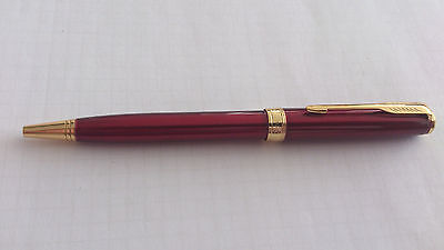 New Maroon Red Gold Plated Sonnet Ballpoint Parker Pen 18k Trim Gift USA