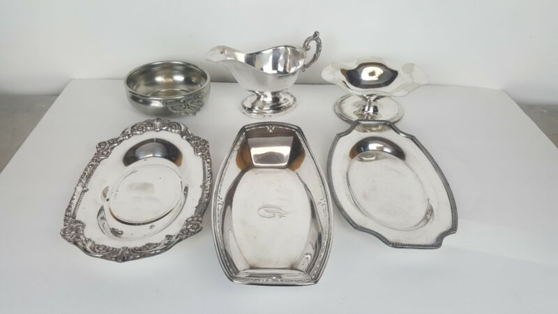 Silver Plate Mixed Lot of 5 Pieces and 1 Pewter WEB SPCO